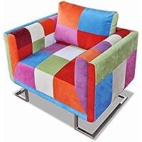vidaXL Cubo silla de retales de tela Patchwork con patas cromadas
