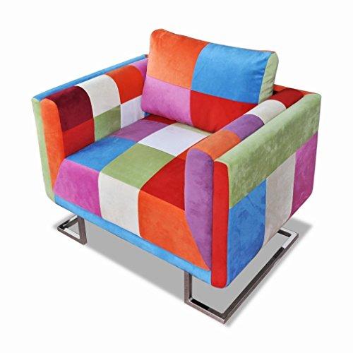 Vidaxl sedia cubo rappezzatura e piedi cromo legno durevole e tessuto di qualità
