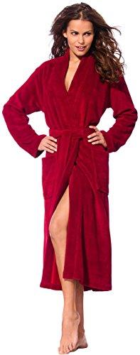 Morgenstern, Damen Bademantel lang, mit Kimonokragen, Gr. M, kirschrot , Größen S bis XL verfügbar, Außenseite kuschelige Microfaser Innenseite saugstarke Baumwolle ( Frottee )