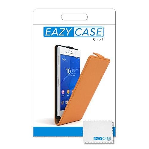 Sony Xperia Z3 Hülle - EAZY CASE Premium Flip Case Handyhülle - Schutzhülle aus Leder in Braun Orange (Flip)
