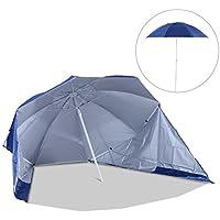 Outsunny Sombrilla de Playa con Paneles Laterales tipo Tienda Parasol para Protección de rayos UV Φ210x222cm (Azul)