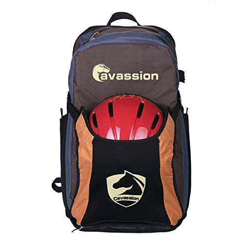 Sport Tent-Pro Stiefeltasche Helmtasche Rucksack Reiten Tasche für Reitstiefel Kombitasche Stiefelbeutel mit Helmfache (Kaffee mit Orange & Schwarz)
