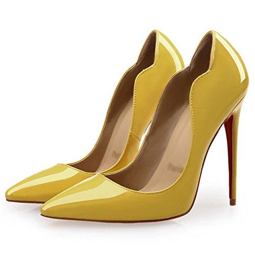 WSS chaussures à talon haut Les chaussures des femmes sont une tendance de couleur unie de la peu profonde stylet pointu talon haut Chaussures femmes Yellow