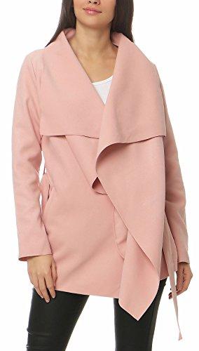 Malito Damen Mantel kurz mit Wasserfall-Schnitt   Trenchcoat mit Gürtel   weicher Dufflecoat   Parka - Jacke 3041 (rosa) Kurz-mantel