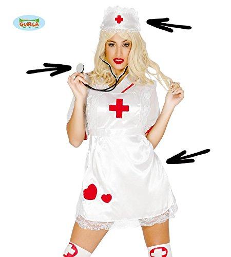 (3 Teile SET - KRANKENSCHWESTER - ( Haube, Schürze & Stethoskop ), Arztin Krankenhaus Chirurg erste Hilfe Berufe Krankenpflege)