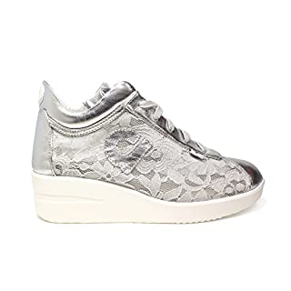 Agile by Rucoline Women Sneaker Wedge Adorned with Floral Lace Color Silver Article 226 A Lace Mulberry New Spring Summer Collection 2018 (38)