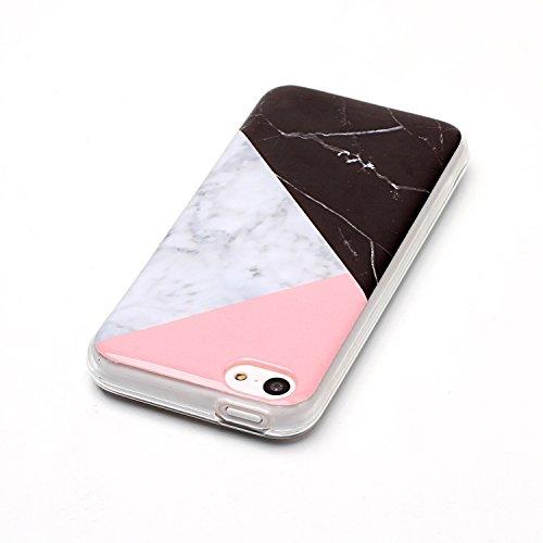 Coque iPhone 5S, LuckyW Housse Etui TPU Silicone Clear Clair Transparente Gel Slim Marbre Case pour Apple iPhone 5 5S SE Soft de Protection Cas Bumper Cover Converture Anti Poussières Couvercle Anti R Rose