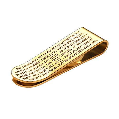 FaithHeart Brieftasche Bill Clip Men's Moneyclip mit Vaterunser Vatertag vergoldet