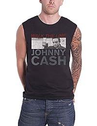 Johnny Cash Vest Walk the Line Studio Shot Official Mens Black L