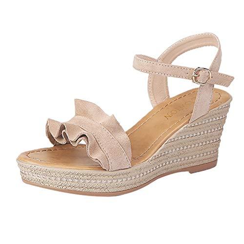 r Sandalen Bohemian Flach Sandaletten Sommer Strand Schuhe,Frauen Sandalen Sommer Gladiator Wedges Schuhe Peep Toe Casual Plateauschuhe ()