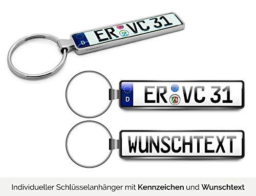 Schlüsselanhänger in Premiumqualität individuell personalisiert KFZ Autokennzeichen Nummernschild Autoschild Wunschkennzeichen Wunschtext Auto für Audi BMW Mercedes VW OPEL SKODA MAZDA Ford Porsche