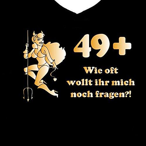 Fun Shirt 50. Geburtstag Teufel Gold mit Spruch 49+ wie oft wollt ihr mich noch fragen Schwarz