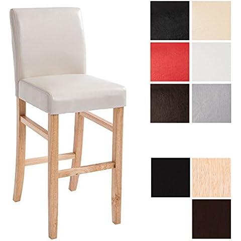 CLP Sedia da bar in legno ALVIN con seduta in similpelle, altezza seduta 75 cm, scelta dei colori della struttura e della seduta natura/crema