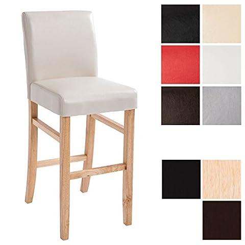 CLP Holz Bar-Stuhl ALVIN mit Kunstleder-Bezug, Sitzhöhe 75 cm, Gastro Hocker mit Lehne Holzfarbe natura, Bezugfarbe creme