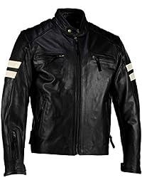 Gallanto Roma - Chaqueta de Piel para Motociclista, Estilo Vintage, Color Negro