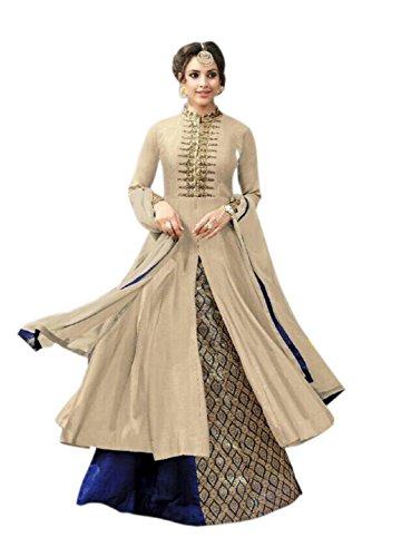 Aika Fashion Women's Cotton Dress Material (S013-Kesari-Cream_Free Size_Beige)