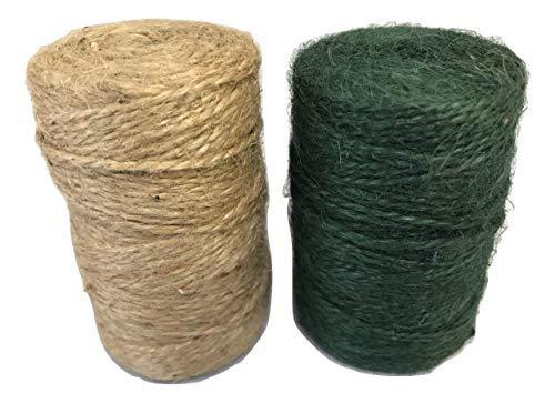 INERRA Jute Moosschnur – gemischte Packung mit grünen und natürlichen Spulen – General Garden String