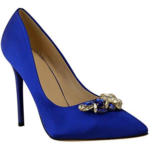 Fashion Thirsty heelberry Donna Sposa Matrimonio Strass Scarpa Décolleté Tacco Alto Damigella D'Onore Festa Nuovo BLU COBALTO satin