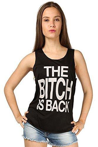 Womens Bitch is Rücken Slogan Bedruckt Gym Strand Tank Edge Damen Freizeit Trikot ärmellose Weste T Shirt Spitze Übergrößen UK 8-26 Bitch is Back Schwarz