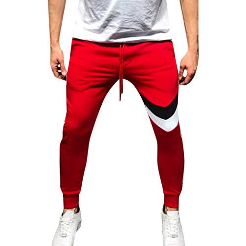 Mymyguoe Herren Lange Trainingshose Jogging-Hose Sport-Hose Herren Sporthose Herren Trainingshose Slim Fit Männer Fitnesshose Sweatpants Jogging Herren Sport Jogginghose [Rot,L] (Roter Strampelanzug Kostüm)