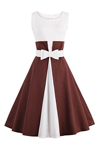 Robe de Soirée Cocktail Courte Rétro jointif Vintage 1950 Style Audrey Hepburn Rockabilly Swing Grande Taille par Babyonlinedress Bordeaux