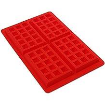 ohofy 4-cavity DIY Mini gofres para tarta Chocolate sartén de silicona bandeja molde para hornear molde herramienta rojo