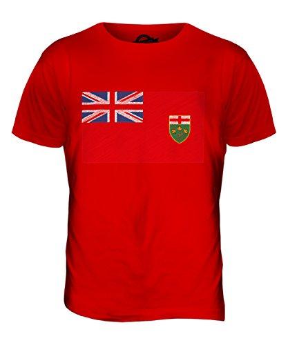 CandyMix Ontario Bandiera Scarabocchio T-Shirt da Uomo Maglietta Rosso