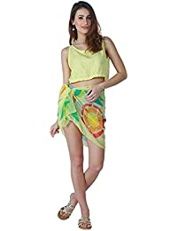 Emazing Deals Women's Beautiful Beach Wear Sarong, Pareo, Wrap Swimsuit Cover Up (emzpareoprint, Yellow, Free Size)