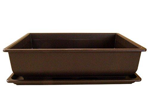 Bonsaischale aus Kunststoff | mit dunkelbraunen Untersetzer | Länge: 34cm - Breite: 26cm - Höhe: 9cm | eckige Form