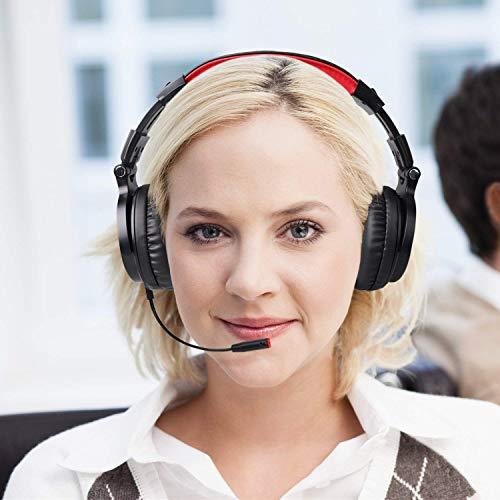 OneOdio Bluetooth Kopfhörer, Kabellos Over Ear Headset mit abnehmbare Mikrofon & Dual 50mm Treiber, 30 Stunden Spielzeit, DJ Kopfhörer (mit abnehmbare Mikrofon, Schwarz Rot) - 10