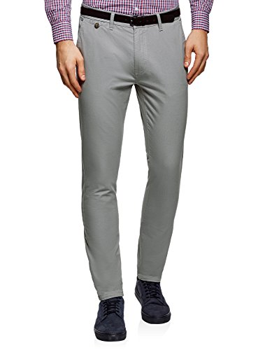 Oodji ultra uomo pantaloni basic chino, grigio, it 50/eu 46 (l)