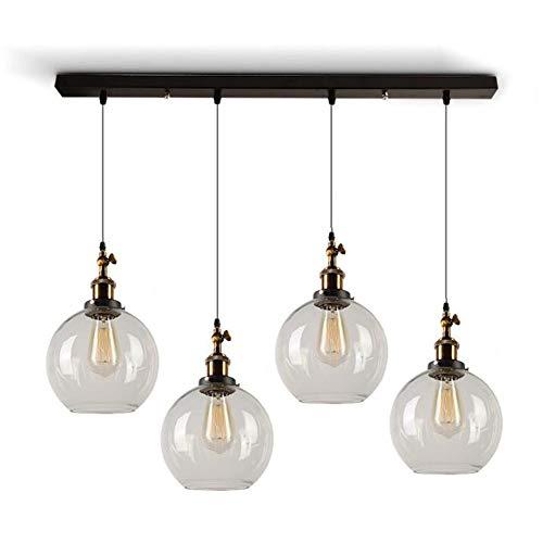 Industrielle Vintage moderne Loft Bar Pendelleuchten Cluster, Kronleuchter Edison hängende Deckenleuchte, 3 runde Kugel Glasschirm E27 Schraube (form : Spherical) (3 Pendelleuchte Klarglas)