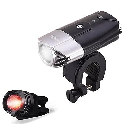 LED Fahrradbeleuchtung, WONTECHMI Fahrradlicht Set, LED Frontlichter Frontlich und Rücklicht, per USB Wiederaufladbare Sehr Helle Fahrradbeleuchtung, Fahrrad Scheinwerfer, IP65 Wasserdicht, mit Freiem Rücklicht und Helmhalterung, Vatertagsgeschenk