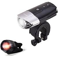 LED Fahrradbeleuchtung, WONTECHMI Fahrradlicht Set, LED Frontlichter Frontlich und Rücklicht, per USB Wiederaufladbare Sehr Helle Fahrradbeleuchtung, IP65 Wasserdicht, mit Freiem Rücklicht, Vatertag Geschenk