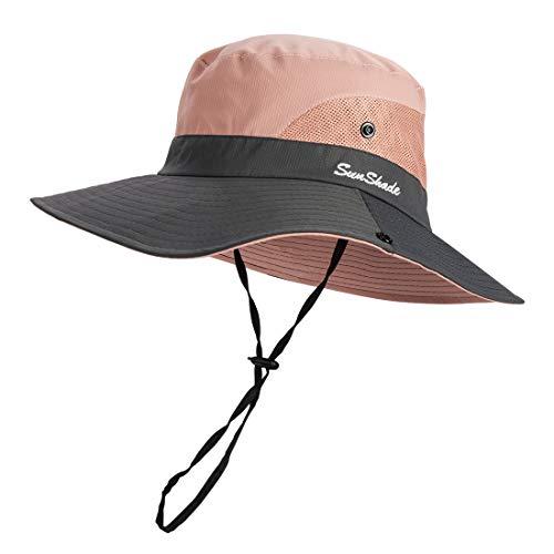 GWELL Unisex Fischerhut UV Schutz Sonnenhut Safari Hut Faltbar Sonnenschutz Wanderhut Gartenhut Buschhut für Damen Herren Rosa