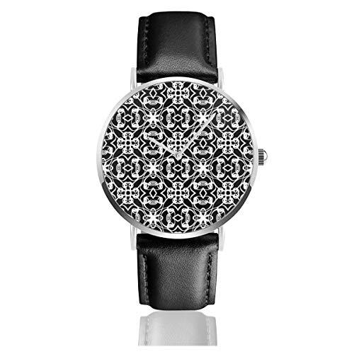 Rosedale Lakritze-Armbanduhr, Quarzuhrwerk, für Herren und Damen mit schwarzem Leder -