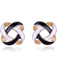 Mac Lawrence Fashion Jewellery Black And White Stylish Fancy Party Wear Stud Earrings For Women And Girls