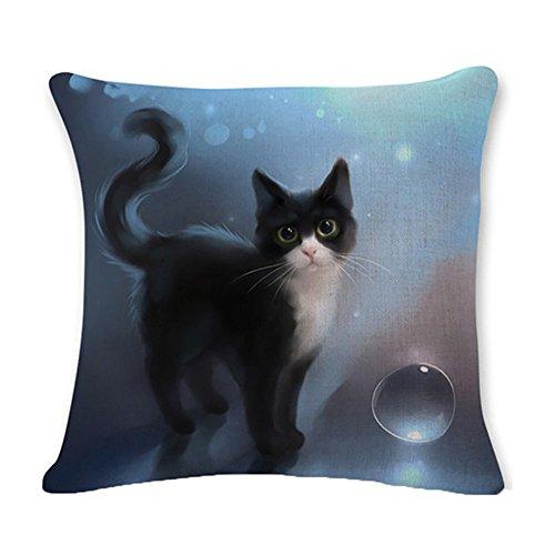 serliy Schwarze Katze Design Einfache Taille Wurf Flauschige kissenbezüge kissenhüllen Spannbettlaken sofakissenbezug günstige schöne Moderne Plüsch Hohe Qualität Polsterung Baumwolle bettwäsche