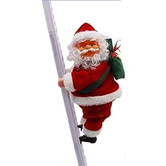 SDFEGH Fjofhgf Papá Noel Que Sube Escalera Eléctrica De Santa Claus Muñeca Ornamento De Navidad Que Cuelgan Al Aire Libre De Interior Decoración De La Pared De La Puerta
