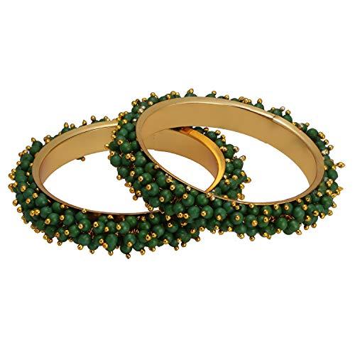Sets Kostüm Plattiert Schmuck Gold - Efulgenz Modeschmuck Indische Bollywood 14 K Gold plattiert Multicolor Kunstperlen Perlen Hochzeit Braut Armband Armreif (2 Stück)