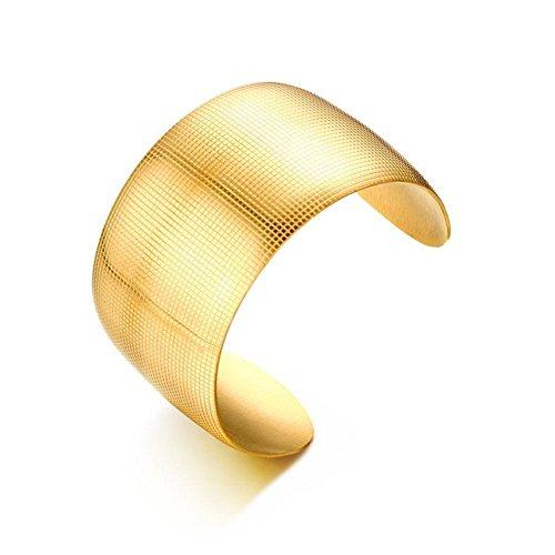 JGDF Frauen Edelstahl Armbänder & Armreifen Plaid Muster Manschette Armband Gold-Farbe Schmuck Zubehör Dia 55mm Breite 39mm