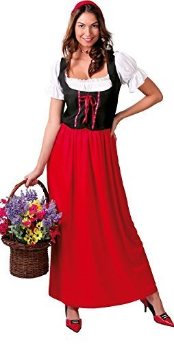 enst Dirndel Oktoberfest Gastwirt Landlady lang voll Länge Kostüm Kleid Outfit 14-18 - Rot, UK 18-20 (Gastwirt Kostüm)