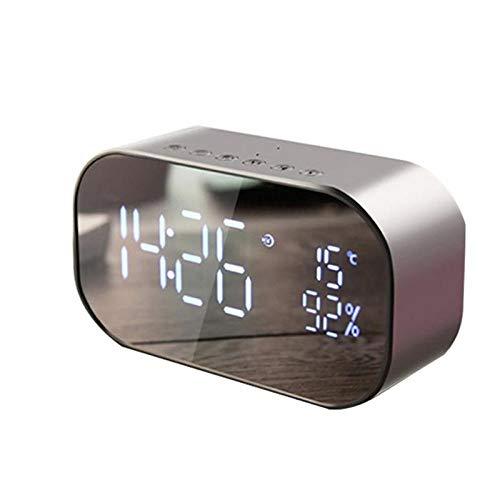 YWSZY Drahtlose Smart Clock Bluetooth-Lautsprecherspiegel Tf-Kartenlautsprecher Tragbare Audiogeräte Temperaturanzeige USB Fm Led @ D (Spotify-wecker)