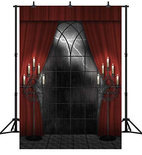 (GzHQ PGT261A Fotohintergrund, 150 x 210 cm, Halloween-Party-Thema, Holzboden, roter Vorhang mit Blitz Nacht, personalisierbar, nahtlos, Vinyl)