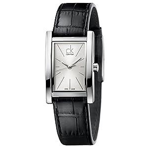 CK - Reloj de cuarzo para mujer, correa de cuero color negro de CK