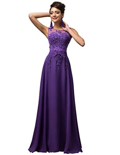 Lange Damen Abendkleider Ballkleider Partykleider Ärmellos Chiffon Kleid für Hochzeit Brautjungfer- Gr. 36, Cl7555-2