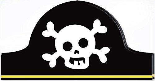 12Kinder Kids Pirat Hüte Geburtstag Party Geschenk Bag Filler Boy Totenkopf Kreuz Knochen Fancy Kleid Zubehör (Papier Piraten Hüte)