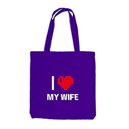 Jutebeutel - I Love My Wife - Traumfrau Herz Heart Pixel Violett