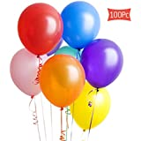 Gvoo Assorted Color Latex Party Balloons (100 Pcs) 10 Inches for Parties Birthdays Weddings Holidays and Special Occasions