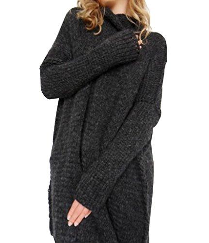 YoungSoul Maglioni Collo Alto Donna Invernali Vestito Maglione Larghi Lavorato a maglia Pullover Lungo Maglieria con Pollice Foro Nero Asia M